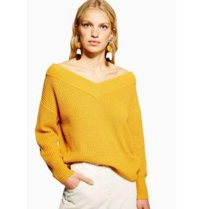 Topshop Mustard V-neck Bardot Sweater Jumper 2